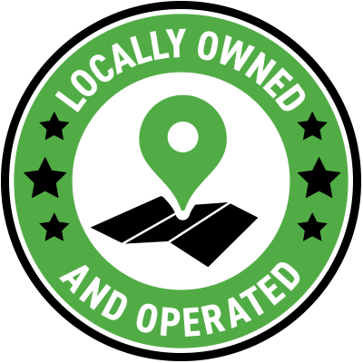 Green round icon that says locally owned and operated