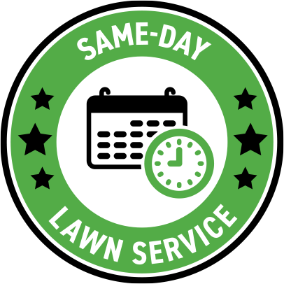 same-day Lawn service in a circle around a calendar and clock icon