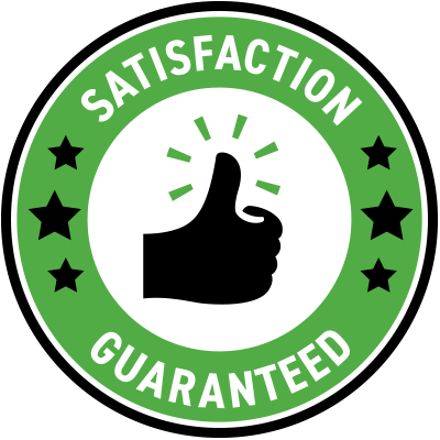 satisfaction guaranteed in a circle around a thumbs up symbol