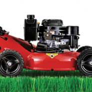red lawn mower on on grass